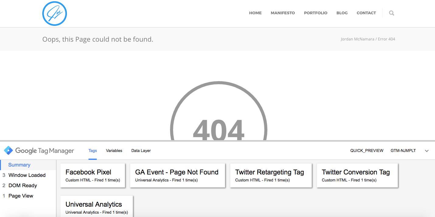 Page not found event fired
