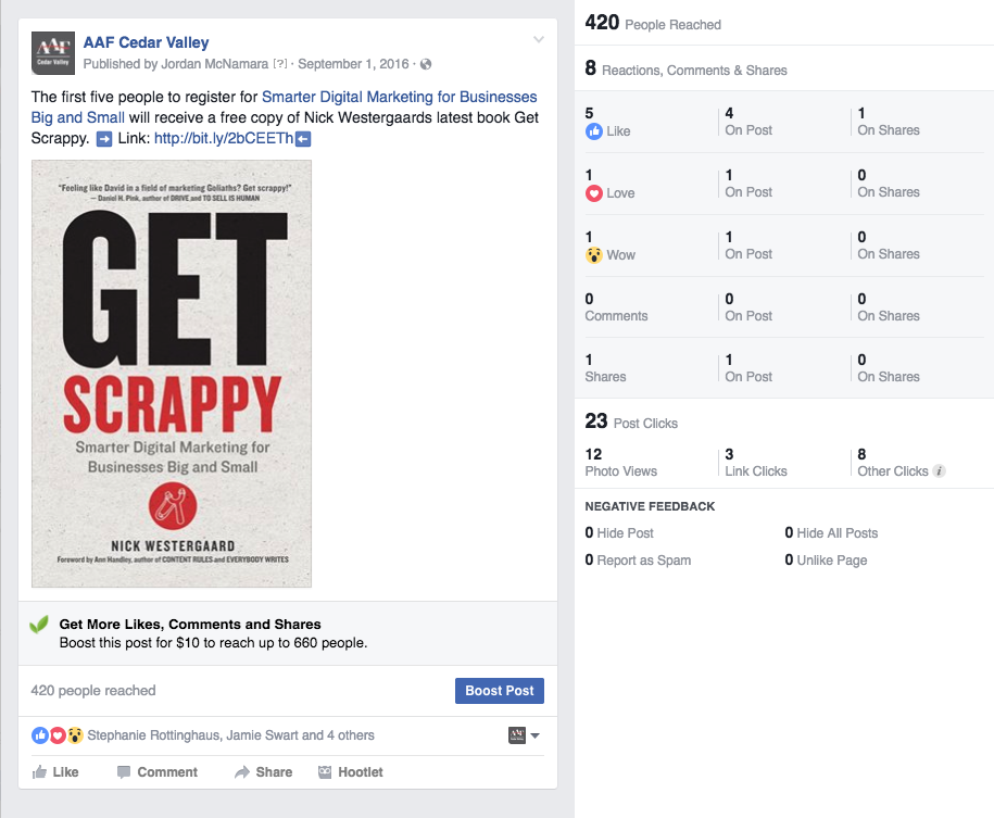 AAF-Cedar Valley Get Scrappy post