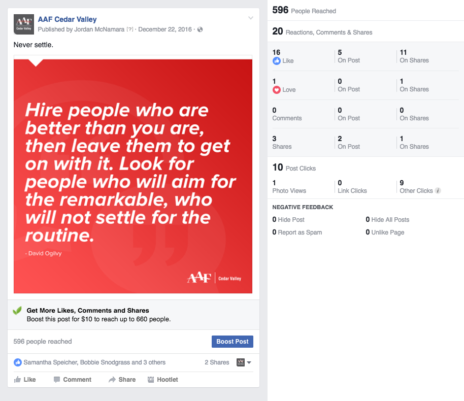 AAF-Cedar Valley Facebook Never Settle